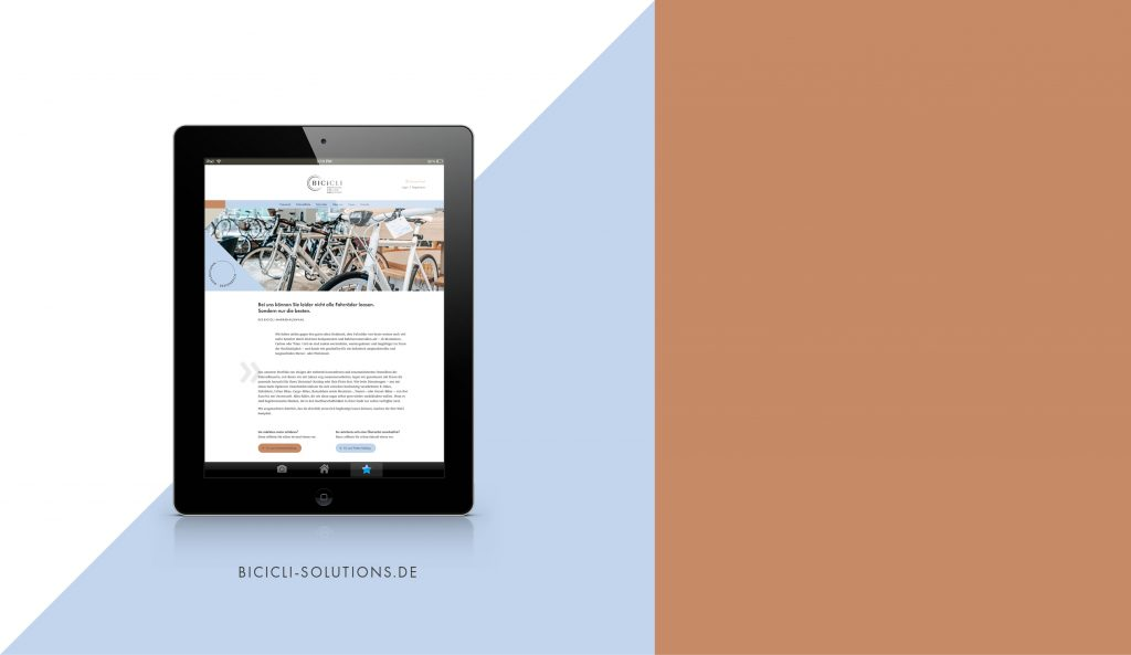 BICICLI Website tablet