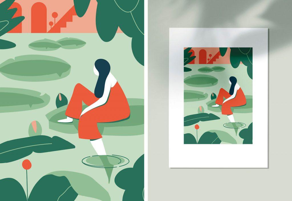 Shocking Grey Illustration Lilien